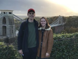 Max and Lizzie stood in front of the Clifton Suspension Bridge