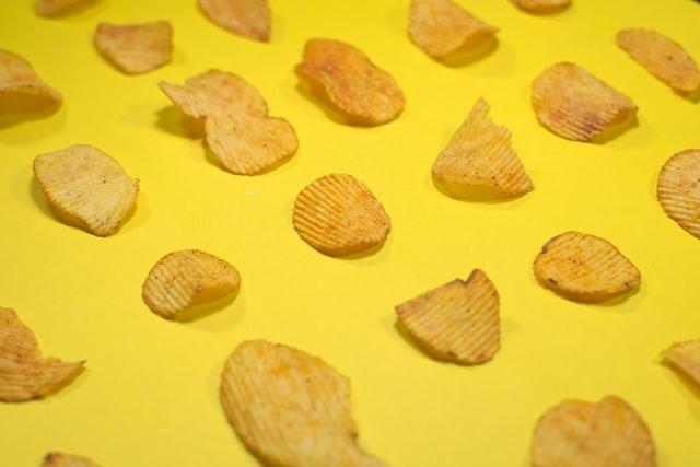 Crisps on yellow background