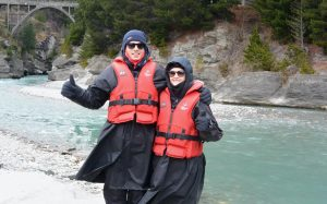 Max and Liz wrapped up warm for the Shotover jet.